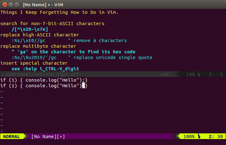 vim screenshot two windows tips and source